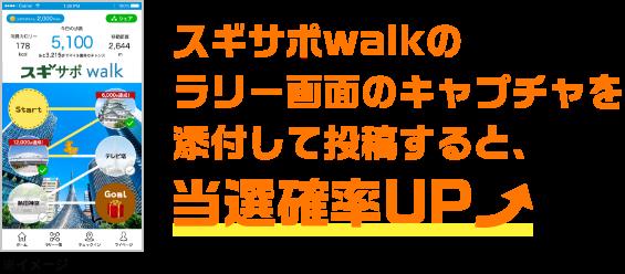 スギサポwalkのラリー画面のキャプチャを添付して投稿すると、当選確率UP↑